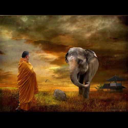 Moine tibétain rencontre ganesha